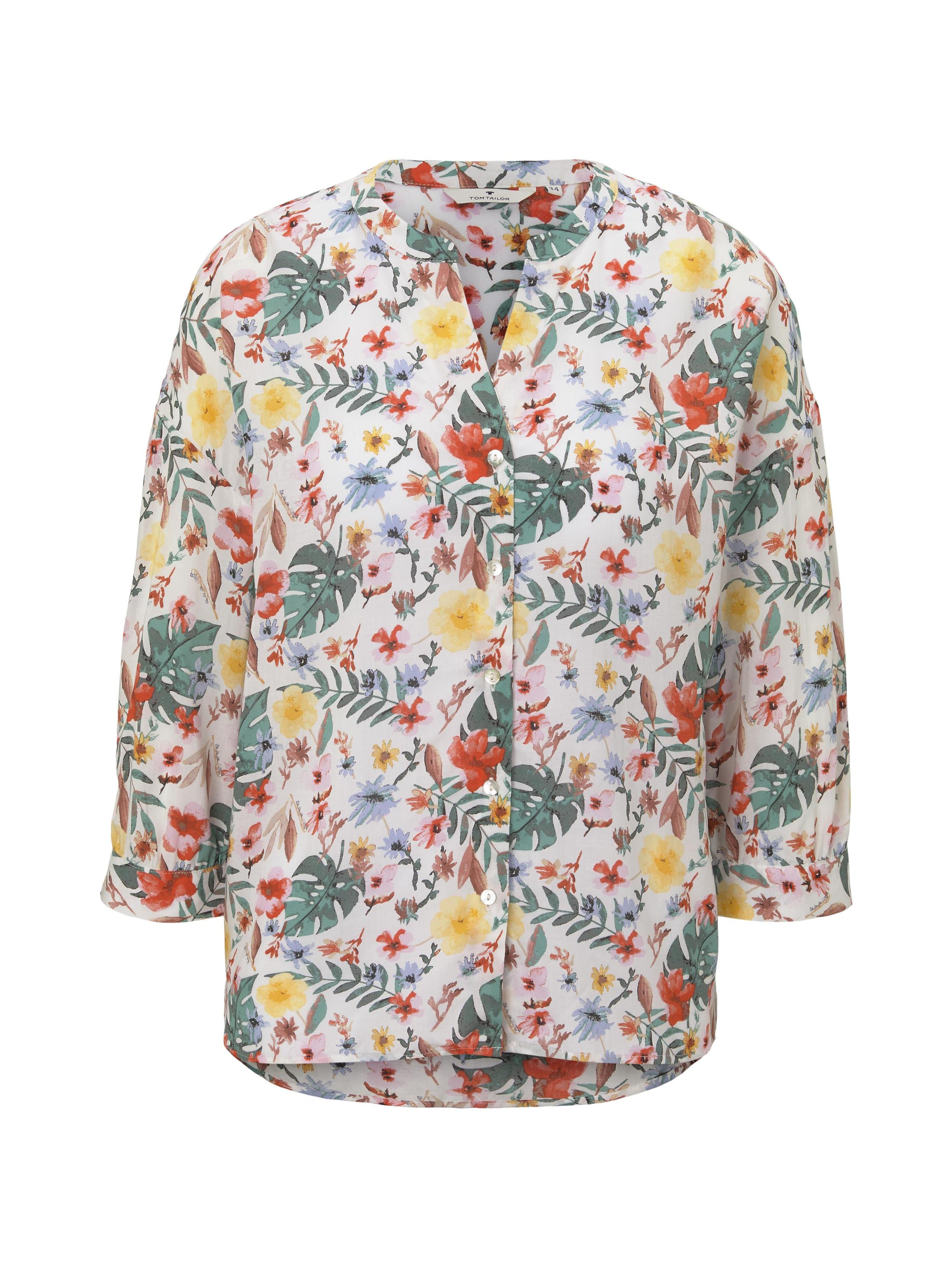 blouse printed loose shape, white watercolor flower design