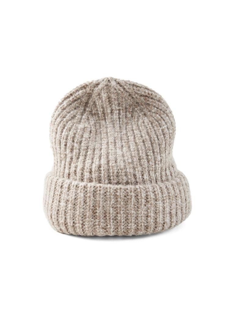 beanie mouline knit, french clay beige melange