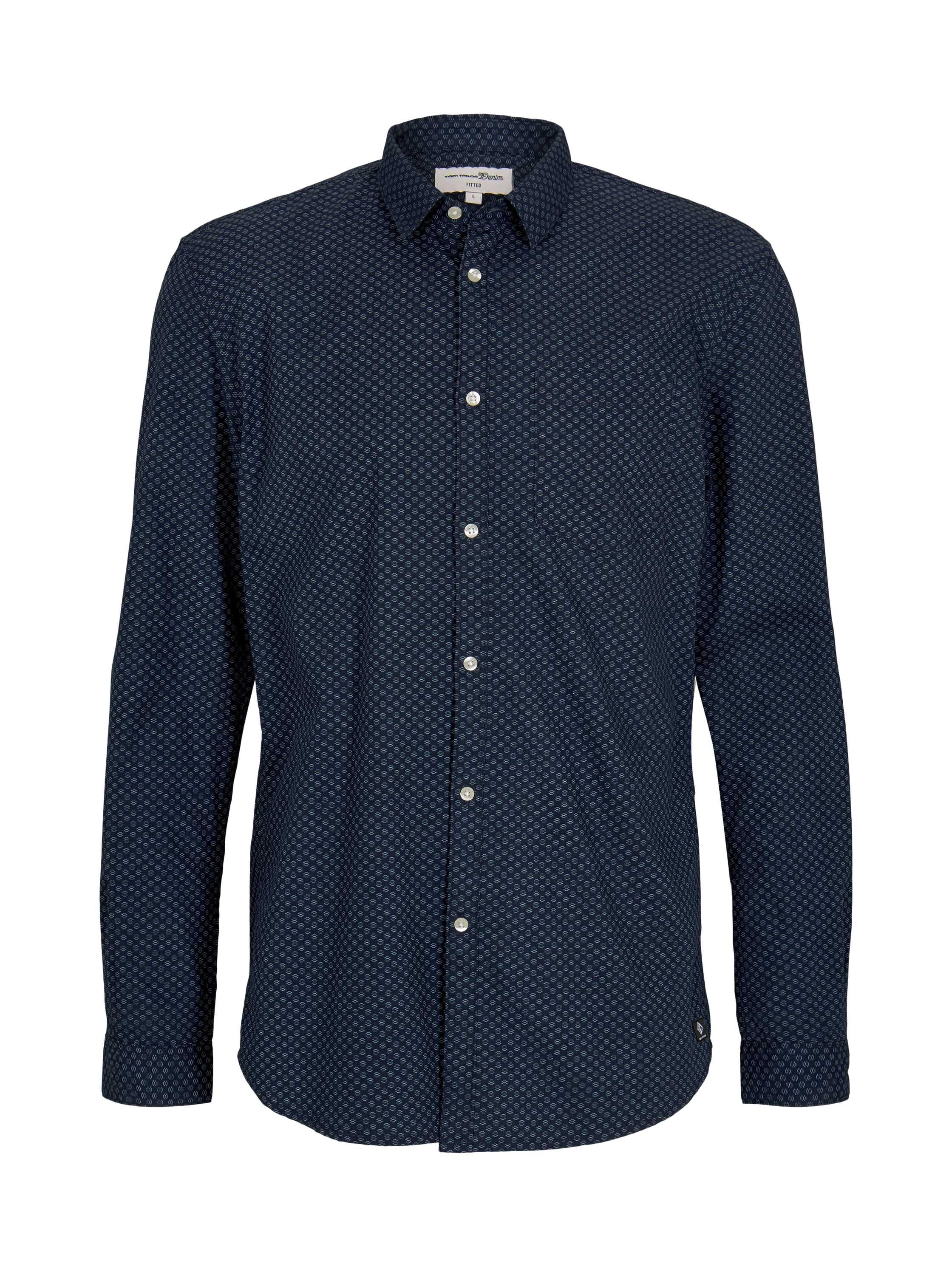 allover printed shirt, navy abstract print
