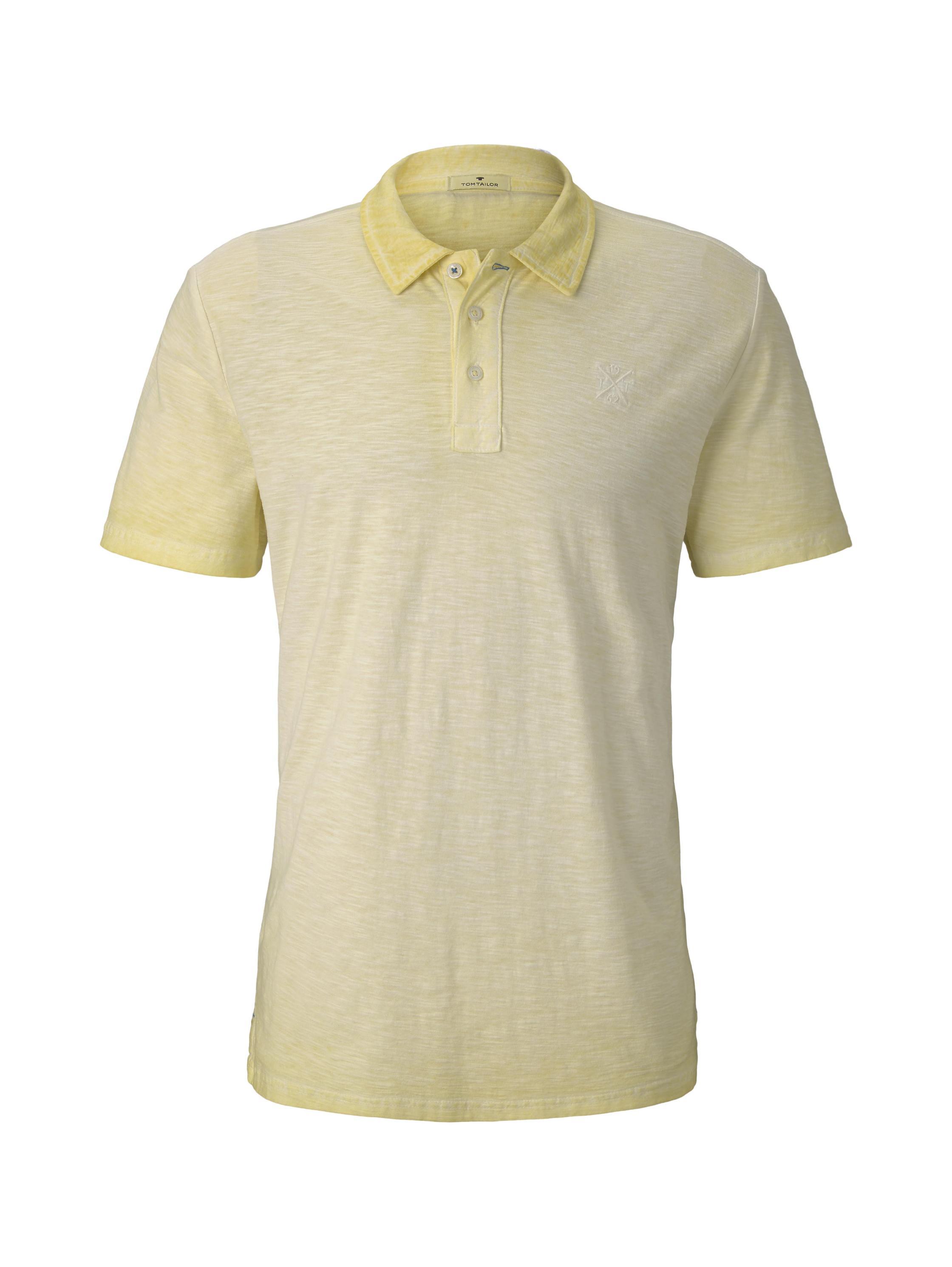 garment dye polo shirt, pale straw yellow