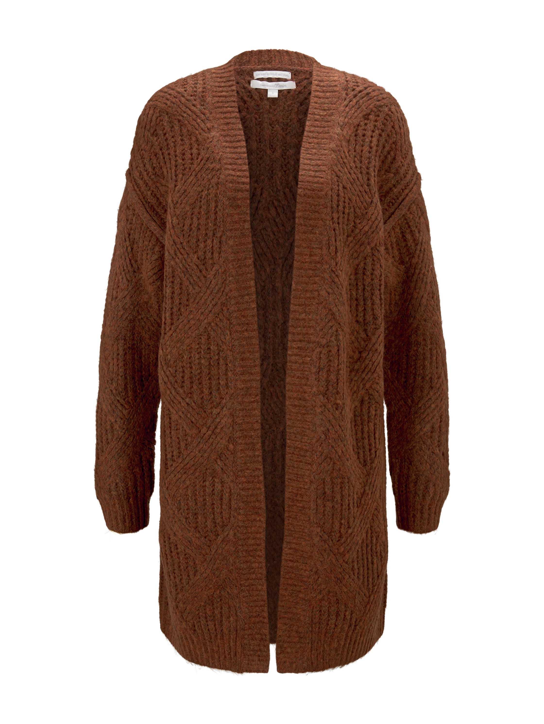 airspun knit cardigan, rust melange