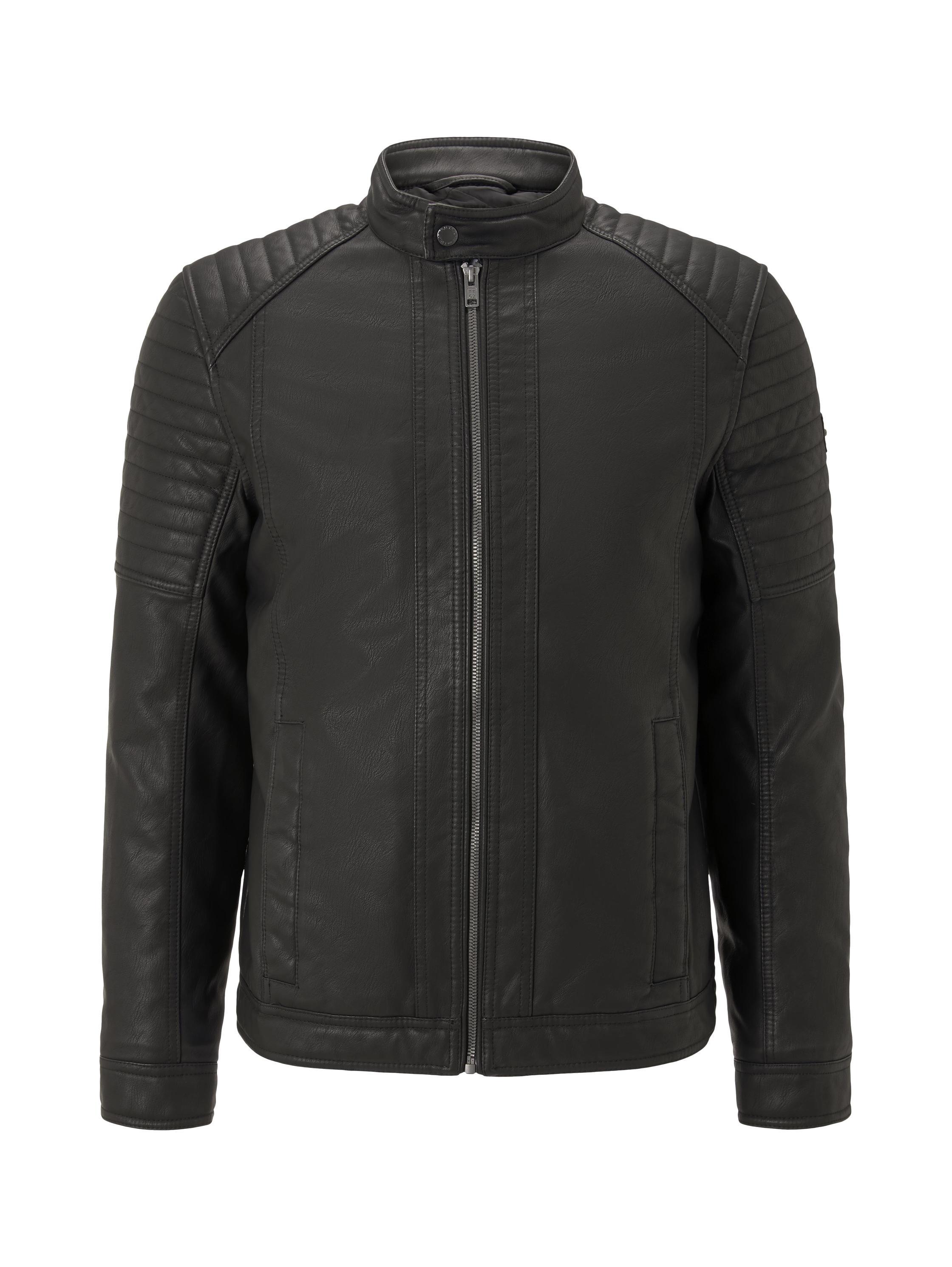 faux leather biker jacket NOS, Black