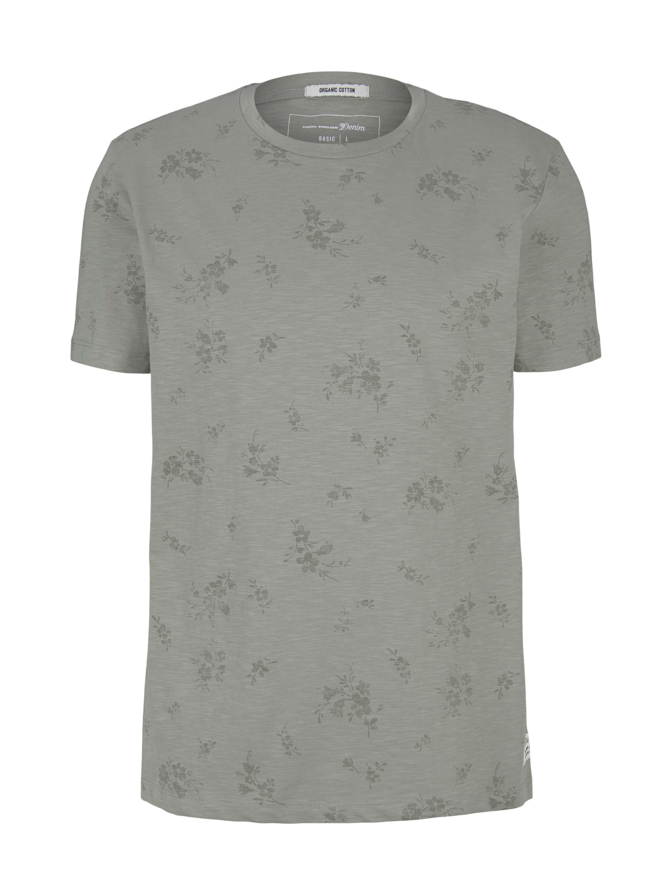 alloverprinted T-shirt, olive shredded flower print