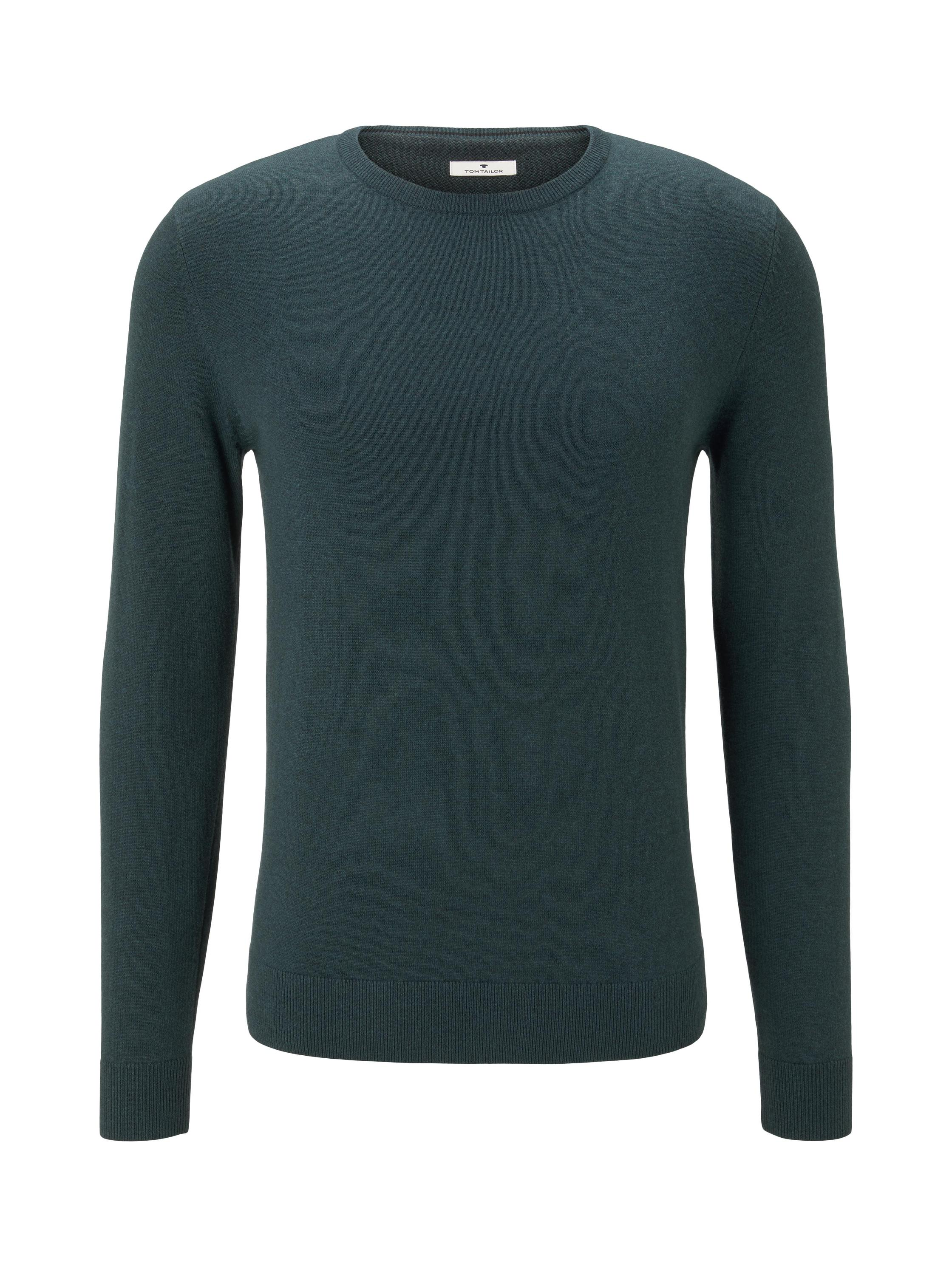 basic crew neck sweater, sapphire green melange
