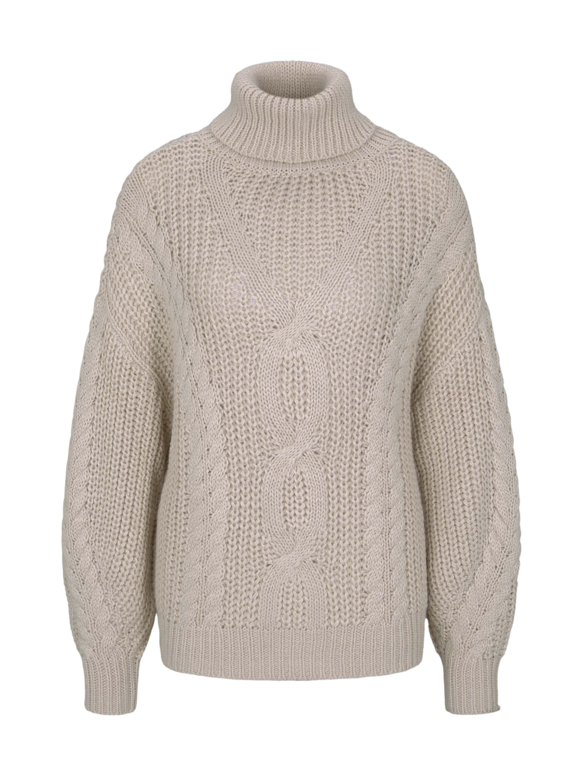 cable knit pullover, soft beige
