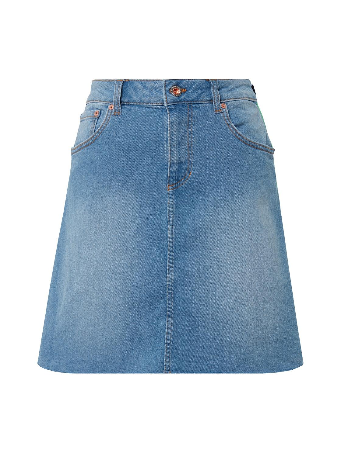 denim skirt with sidetape, mid stone wash denim          Blue