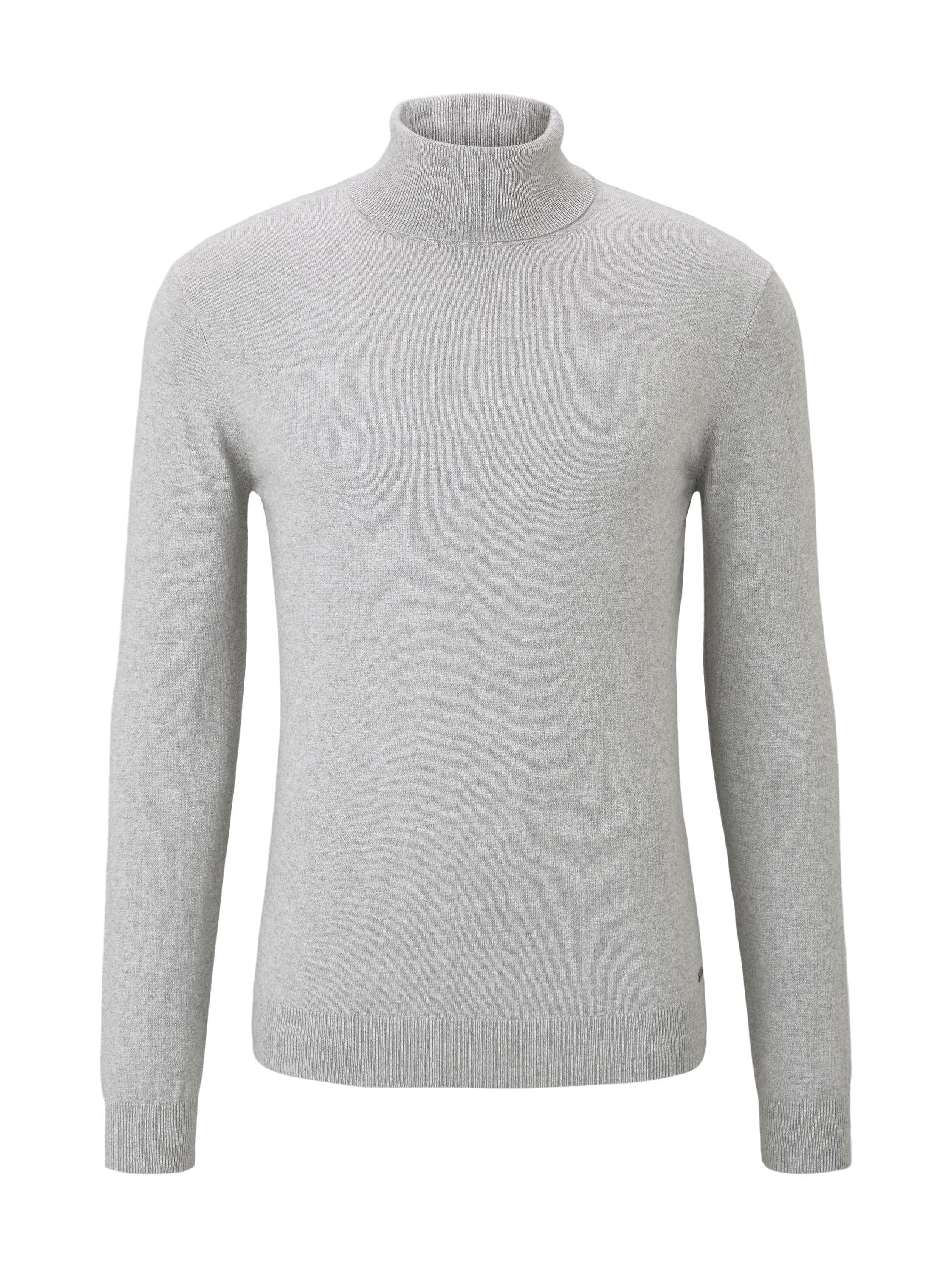 cashmere blend turtle neck, smooth grey melange           Grey,