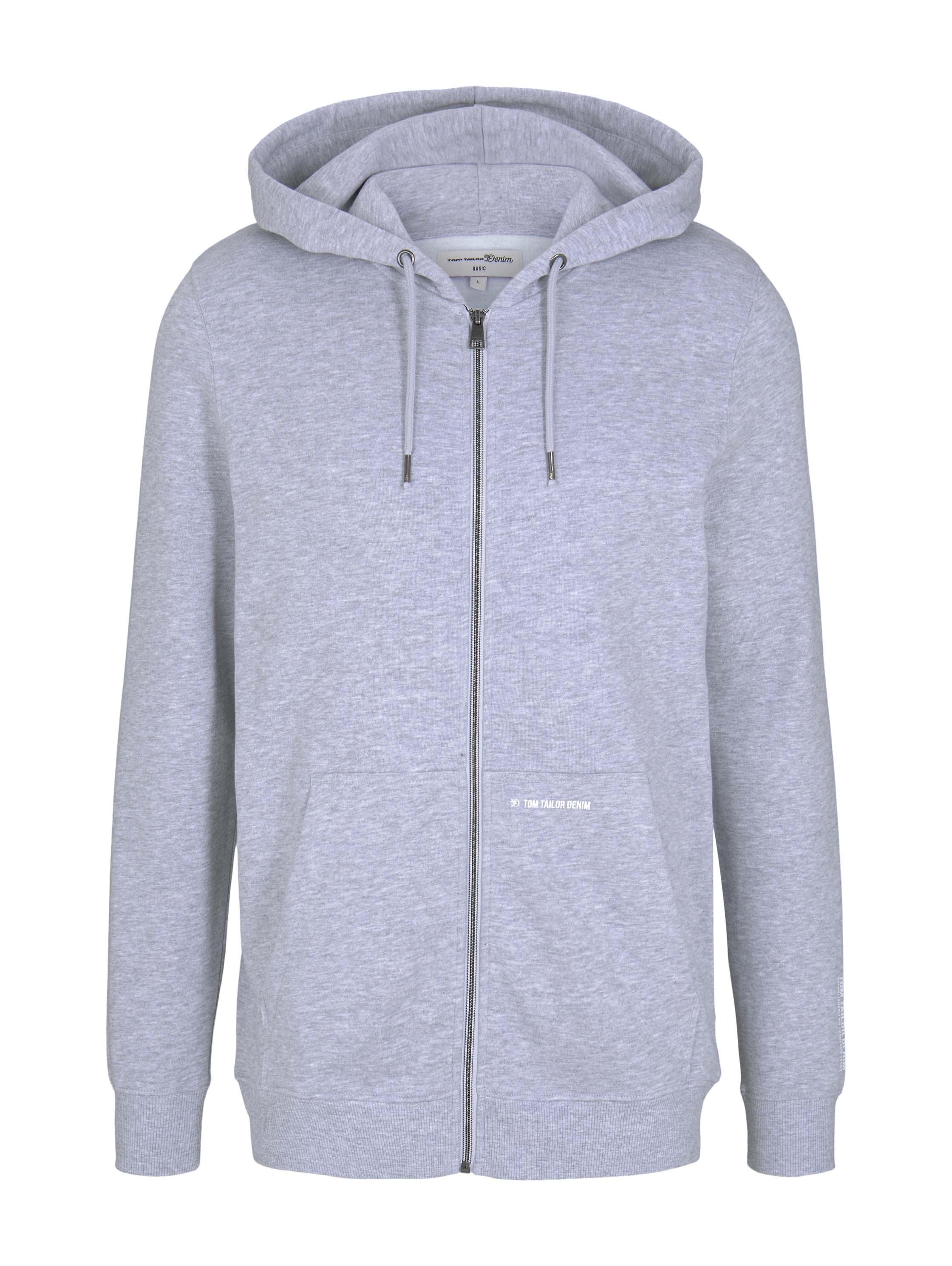 hoody jacket w. print, Light Stone Grey Melange