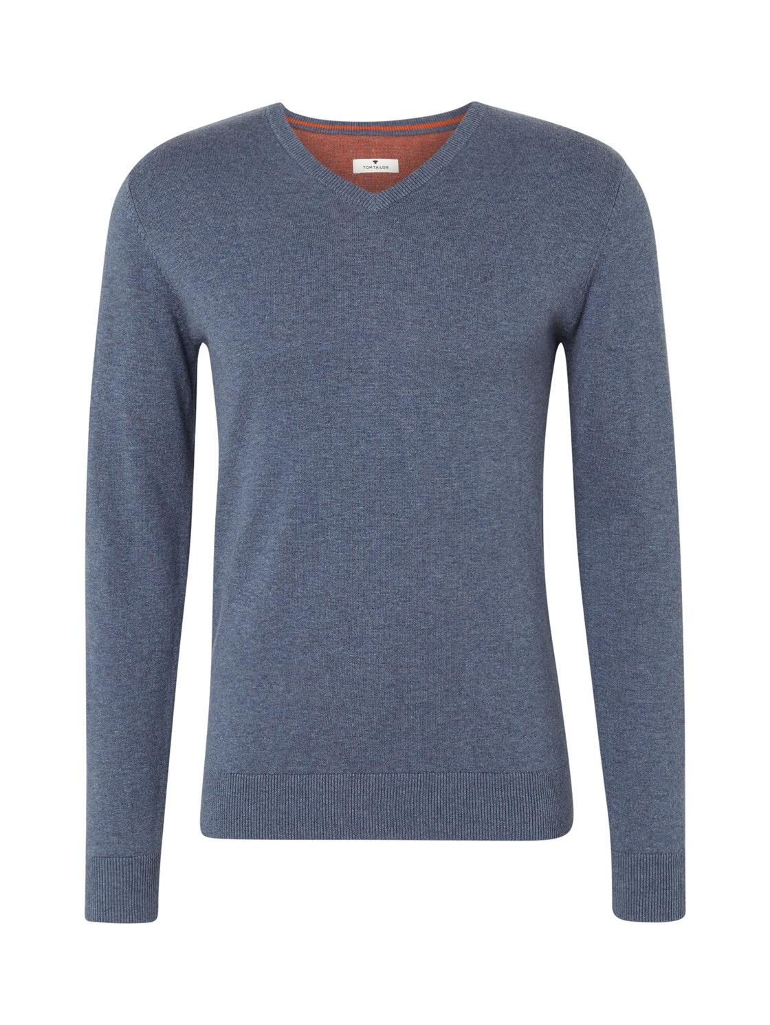 basic v neck sweater, vintage indigo blue melange   Blue