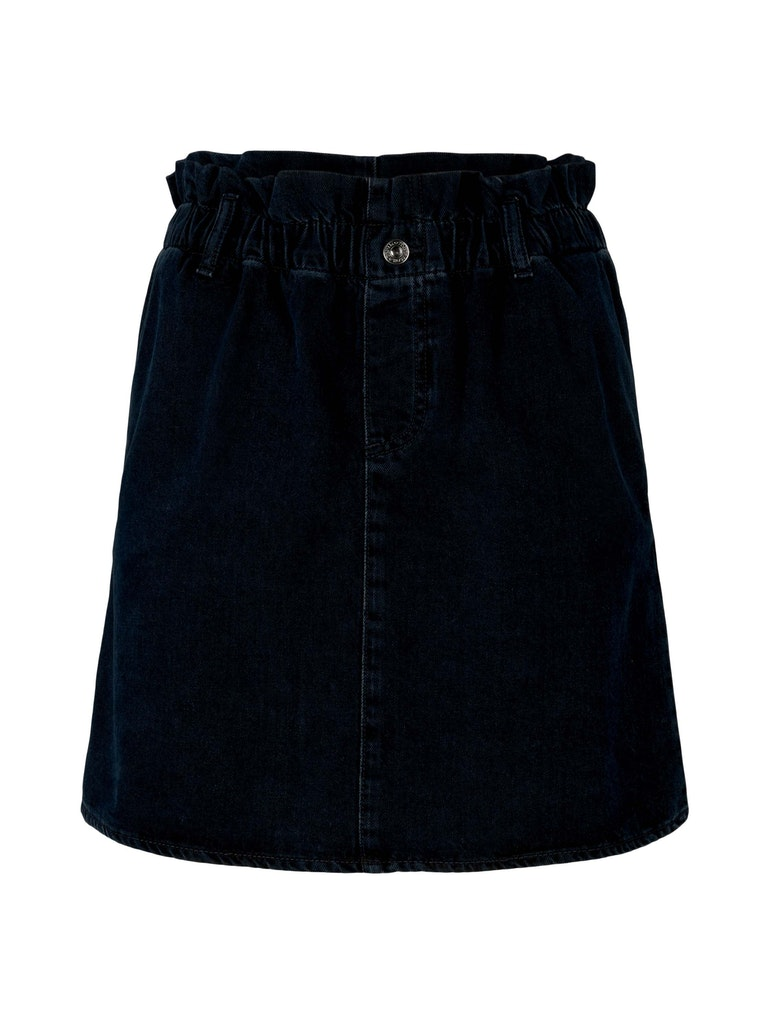 denim skirt with paperbag, dark stone blue black denim